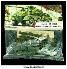 Vintage Models, Old Models, Vintage Box, Airfix Models, Airfix Kits, Striped Bags, Model Kits, High Resolution Picture, Armored Vehicles