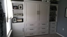 Our customer from Georgetown, Texas chose the BedderWay Vertical Queen Dresser Cabinet Face Murphy bed in maple painted white with black contemporary handles along with two side cabinets.