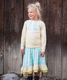 Blue & Yellow Stripe Henley & Skirt - Toddler & Girls by Trish Scully Child #zulily #zulilyfinds