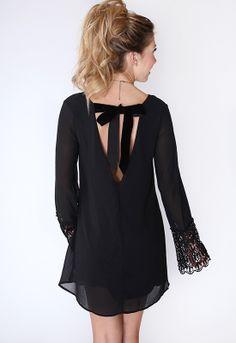 Swept Away Dress - Black, velvet ribbon, lace sleeves, black dress, perfectly fit, fall fashion, holiday inspiration