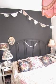 sidmouth poppy vintage black bedroom