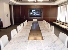 High quality custom corporate rectangular conference tables made in the USA by fine furniture manufacturer WallGoldfinger