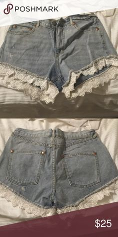 Free people crochet denim shorts Size 27 Free People Shorts Jean Shorts