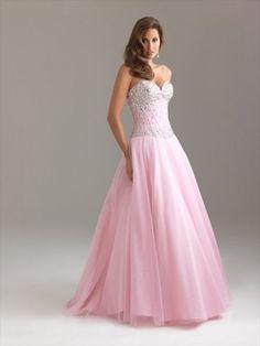 2012 Style détonner Sweetheart perles robe de bal rose sans manches étage longueur Tulle / robe de soirée