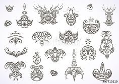 Vettoriale: Henna mehndi tattoo doodle ornament vector set of black elements isolated on white background