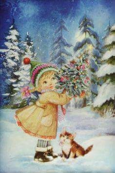 View album on Yandex. Old Time Christmas, Christmas Kitten, Christmas Scenes, Retro Christmas, Vintage Christmas Cards, Christmas Pictures, Xmas Cards, Winter Christmas, Christmas Posters