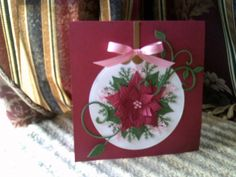 I don't have the die cuts, but wonder what I could do wiith fabric and embroidery and free motion sewing Poinsettia Cards, Christmas Poinsettia, Christmas Cards To Make, Xmas Cards, All Things Christmas, Handmade Christmas, Iphone Tricks, Spellbinders Cards, Card Making Inspiration