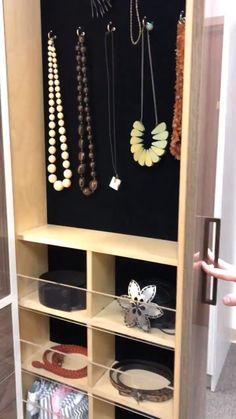 Organization Ideas videos Vertical Pull Out A full height, velvet lined vertical pull out provides the perfect storage solution for necklaces while lucite cubbies keep belts and other small accessories separate. View more organization and storage ideas. Wardrobe Room, Wardrobe Design Bedroom, Bedroom Bed Design, Bedroom Furniture Design, Home Room Design, Closet Bedroom, Home Decor Furniture, Wardrobe Storage, Walk In Closet Design