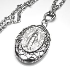 Miraculous Medal Antique French Silver Holy Medal Filigree Locket Necklace, Catholic Medal, Catholic Gift, OOAK Catholic Medals, Catholic Gifts, The Masterpiece, Locket Necklace, Virgin Mary, Miraculous, French Antiques, Filigree, Antique Silver