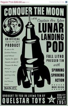Lunar Landing Pod Tin Toy Retro Rocket Box Art Print 8 in x 12 in