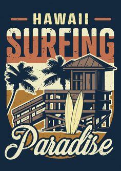 Vintage hawaii surfing colorful concept vector image on VectorStock Vintage Hawaii, Surf Vintage, Badge Design, Logo Design, Ps Wallpaper, Wallpaper Quotes, Palm Tree Vector, Retro Graphic Design, Travel Logo