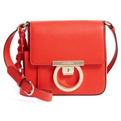 Women's Salvatore Ferragamo Gancio Lock Leather Crossbody Bag (4,460 PEN) ❤ liked on Polyvore featuring bags, handbags, shoulder bags, coral, red crossbody, leather crossbody handbags, shopping bag, red leather crossbody and leather crossbody purse
