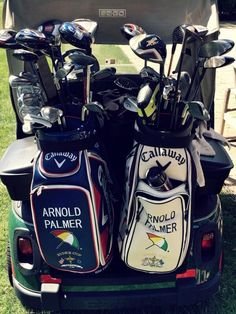"March 19, 2014: ""What 14 club rule?,"" Callaway Golf ‏asked after spotting Arnold Palmer's double-bagged golf cart at Bay Hill."
