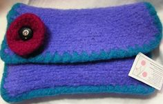 Purple Felted Clutch With Pink Flower And by DesignsbyFredericka, $40.00