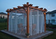 Pergola is decorative item known since ancient times. That time the pergola occupied much more important place in the courtyards than today. Diy Pergola, Pergola Design, Backyard Gazebo, Pergola Curtains, Backyard Seating, Outdoor Curtains, Backyard Patio Designs, Pergola With Roof, Outdoor Pergola