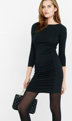 ribbed side ruched sweater dress from EXPRESS