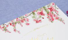watercolor bougainvillea wedding invitation