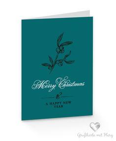 "Weihnachtskarte Mistelzweig ""Merry Christmas and a happy new year"""