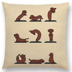 Funny Animals Yoga Series Cushion Cover Sofa Pillow Case