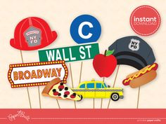 INSTANT DOWNLOAD - Printable New York Photo Booth Props from Paper Built