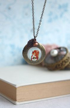 Squirrel Acorn Leaf Locket Necklace. Round Locket by Marolsha