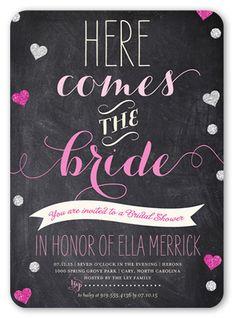Bridal Shower Invitation: Chalkboard Hearts, Rounded Corners, Grey
