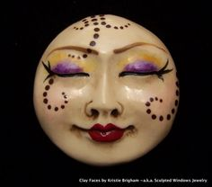 Bohemian Moon Goddess Face CAB Cabochon Hand Painted and Antiqued Ecru Polymer Clay via Etsy