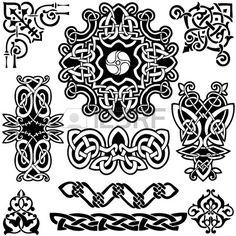Keltische Kunst Sammlung auf einem wei en Hintergrund  Lizenzfreie Bilder