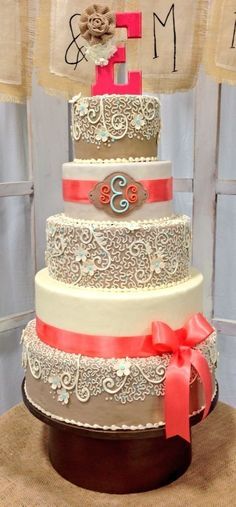 Burlap Wedding Cakes with Flowers | Burlap and Coral Wedding Cake. by Mudgey