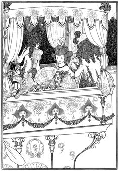 """The Barge. Illustration by Aubrey Beardsley from """"The Rape of the Lock"""" (1896)"""