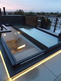 The ultimate sliding glass access roof light Patio Interior, Interior And Exterior, Architecture Details, Modern Architecture, Roof Hatch, Roof Access Hatch, Roof Lantern, Retractable Pergola, Roof Window