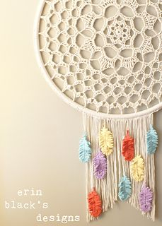 Make your own super sized Dreamcatcher Inspired Wall Hanging with this crochet pattern. This pattern includes complete instructions for how to make and assemble the wall hanging and crochet patterns for the doily center and the feathers. These written instructions also include photos for pattern clarification making it an easy to follow how-to.