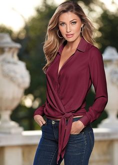 Women Blouses 2017 Fashion Solid Deep V-Neck Long Sleeve Ladies Tunic Jumper Top and Blouse Shirts Blusas Camisas Femininos Mode Outfits, Casual Outfits, Fashion Outfits, Fashion Ideas, Night Outfits, Womens Fashion, Tie Blouse, Work Blouse, Collar Blouse