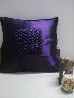 Violet Satin Cushion Cover With Canadian Smocking Lattice Design Zipper At The Back Https