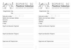 Modelo de reporte o informe de las visitas de las Maestras Visitantes =)