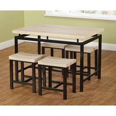 Kitchen Dining Table Set Wood Metal Breakfast Stools Chairs Small Spaces 5-Piece #SALES #eBay #Amazon