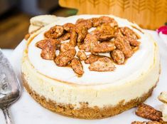 """PECAN PRALINE CHEESECAKE WITH SHORTBREAD COOKIE CRUST - Recipe developer Sheri Castle is making a delicious dessert from her cookbook, """"Instantly Southern: 85 Southern Favorites for Your Pressure Cooker, Multicooker, and Instant Pot ®."""" Praline Cheesecake Recipe, Cheesecake Crust, Cheesecake Recipes, Cheesecake Desserts, Dessert Recipes, Winter Desserts, Just Desserts, Delicious Desserts, Thanksgiving Desserts"""