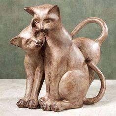 Purrfect Love Resin Cat Sculpture