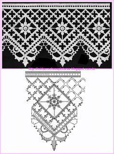 Bildergebnis für motifs et bordures au crochet Crochet Boarders, Crochet Lace Edging, Crochet Motifs, Crochet Diagram, Crochet Stitches Patterns, Lace Patterns, Crochet Chart, Thread Crochet, Crochet Doilies