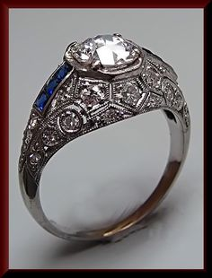 Antique Engagement Ring Filigree Engagement Ring with Old