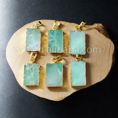 WT-P692 Hotsale natural rectangle chrysoprase stone pendant,fashion green jade with 24k real gold plated pendant by WKTjewelry on Etsy