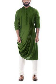 Online Fashion Store| Designer Clothing -Smritiapparels.com. Moss Green Cowl Drape Kurta With Churidar Pants