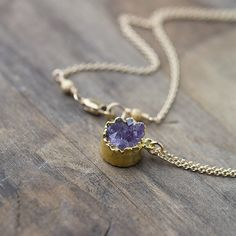 24K Gold Edged Druzy Necklace / Purple Amethyst Druzy by burnish