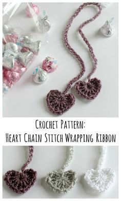 Crochet Pattern Stitches Crochet Pattern for Heart Chain Stitch Wrapping Ribbon - Crochet heart chain stitch ribbons to wrap up your treats to loved ones on Valentine's day! Crochet Books, Crochet Gifts, Diy Crochet, Crochet Bookmark Pattern, Crochet Patterns, Easy Crochet Bookmarks, Paperclip Bookmarks, Triple Crochet Stitch, Crochet Chain Stitch