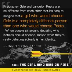 Jennifer Lynn Barnes on Suzanne Collins' Hunger Games trilogy, from THE GIRL WHO WAS ON FIRE  #HungerGames #TheHungerGames #CatchingFire #Panem #JenniferLynnBarnes #Quotes #HungerGamesQuote #TheGirlWhoWasonFire
