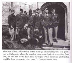 2nd battalion officers at Ron Speirs' wedding in Aldbourne. Buck Compton is the man to the far right.