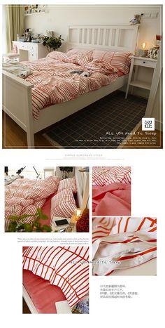 简约全棉北欧小清新四件套春夏被套韩版可爱百搭纯棉床单床上用品-淘宝网
