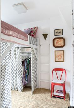 Loft your bed up high to make room for a closet, desk, or cozy hangout space