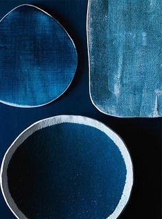Blue hand made plates