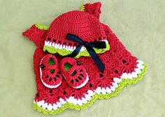 Watermelon Baby Set-   See Notes section for 3 Free Crochet Patterns- The Dress Pattern also includes 2 videos to help you complete the project.